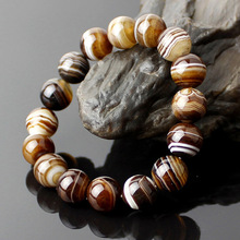 Drop Shipping Natural Sardonyx Brown Stripe Agate Lovers Bracelets Round Stone Beads Bangle For Women Men Crystal Jewelry Gifts