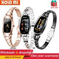Las mujeres Smartwatch con Monitor de ritmo cardíaco sangre presión banda inteligente impermeable rastreador de ejercicios dama pulsera H8 del H8 pro