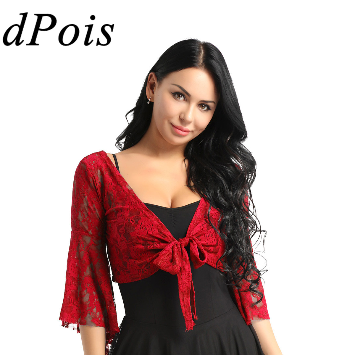 New Belly Dance clothing butterfly sleeve top Lace Top Flared Blouse 13 Colors