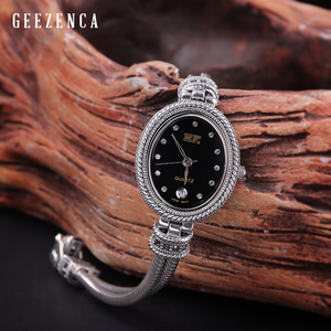 Image 4 - 925 Sterling Thai srebrny inkrustowane niebieski korund bransoletka zegarka kobiet Trendy rocznika japonia zegarek kwarcowy bransoletki biżuteria
