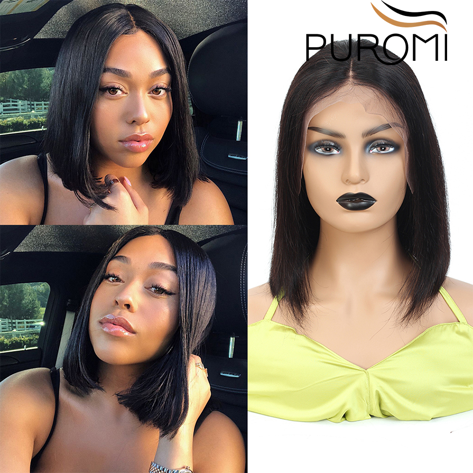 Puromi 13X4 Straight Short Bob Lace Front Wigs Brazilian Remy Hair Natural Color Lace Front Human Hair Wigs For Black Women