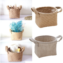 Бытовая складывающаяся натуральная водоросль плетеная корзина для хранения горшка садовая Цветочная ваза подвесная корзина для окружающей среды