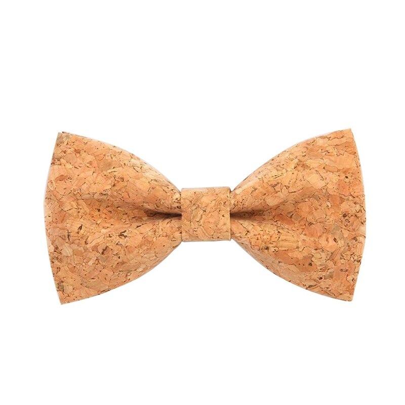 Novelty Corkwood Bow Ties For Men Wedding Marriage Handmade Cork Wood Bow Tie Sharp Corner Adult Neckties Cravat 001