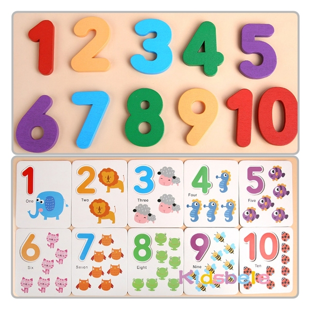 Montessori Toys For Children Mathematics Kids Early Educational Toys Counting Wooden Sticker Kids Number Cognition Birthday Gift