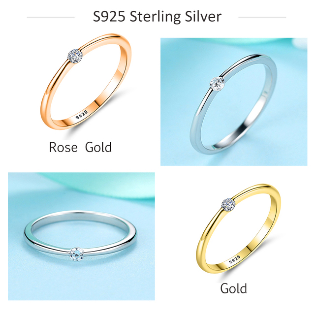 ELESHE Clear CZ Crystal Rose Gold Ring 925 Sterling Silver Classic Round Finger Rings for Women Wedding Ring Silver 925 Jewelry 3