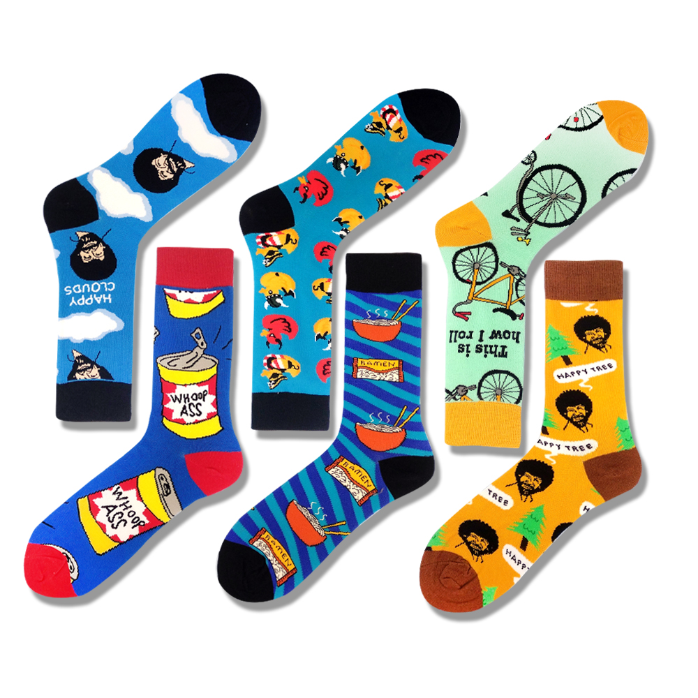 Cartoon Game Charcter Hip Hop Skateboard Socks Creative Soft Funny Novelty Happy Socks Alien Food Mario Noodles Skateboard Socks