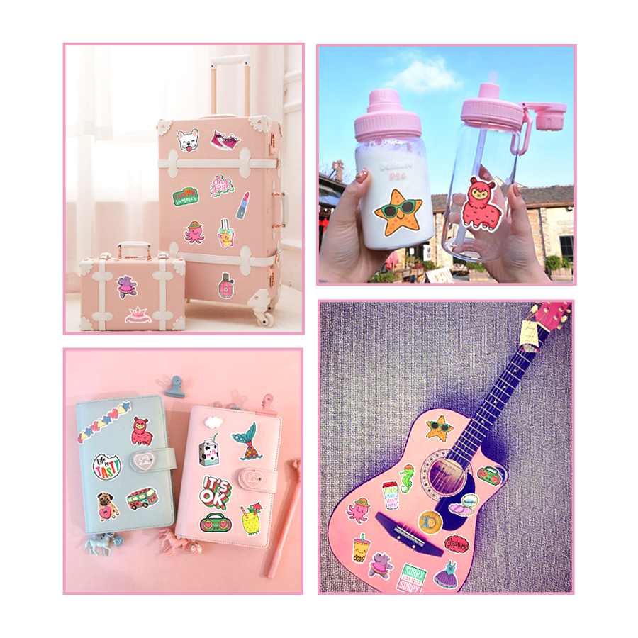 50 PCS Cartoon Girl Style Stickers Kawaii Anime Beach Graffiti Sticker DIY for Water Bottle Laptop Luggage Tablet Cosmetic Case in Stickers from Toys Hobbies