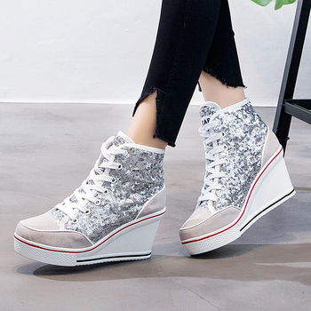 Silver Glitter Wedges   Spring Autumn Women's Shoes Pink Black Silver Glitter Vulcanize Shoes Woman Platform Wedge Sneakers Casual Zapatos DeMujer F1-77