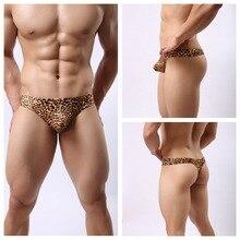 M~3XL Sexy  Light Soft Breathable Men's Leopard Print T Shaped Underwear Male  Bikini Briefs Man Thongs And G Strings