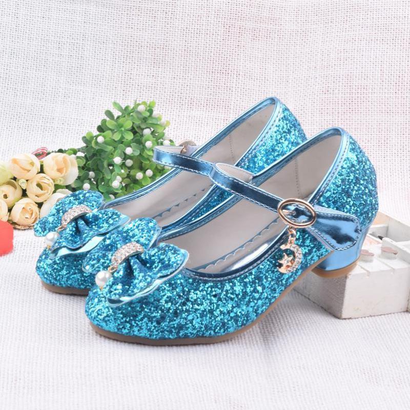 Spring Children Shoes Girls High Heel Princess Dance Sandals Kids Shoes Glitter Leather Fashion Girls Party Dress Wedding Shoes