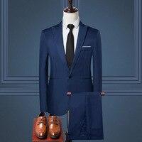 Новинка 2020, Мужской приталенный Повседневный Блейзер размера плюс 5XL + брюки, мужские костюмы для бизнеса, офиса, формальной вечеринки, свадь...