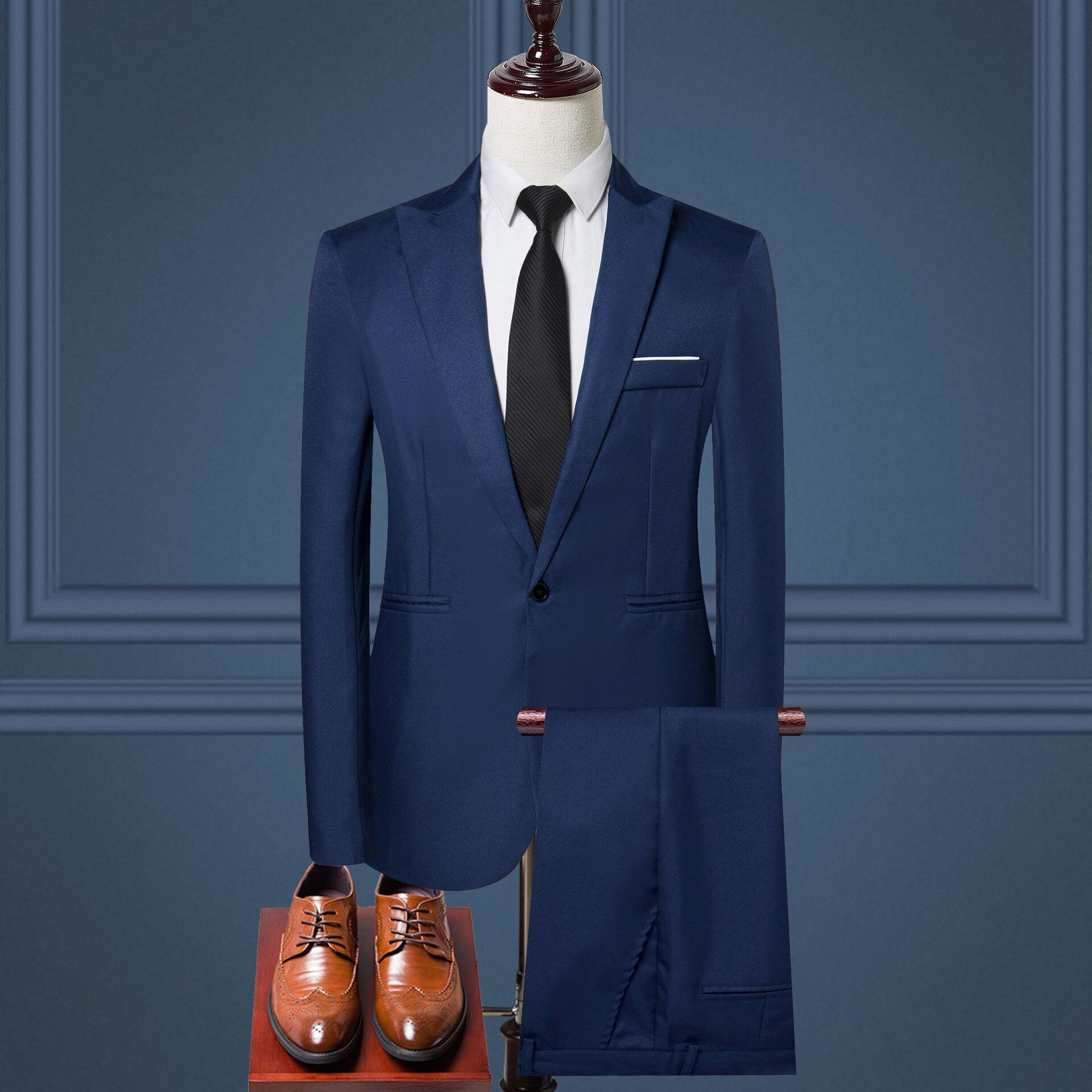 2020 nuevo hombre de talla grande 5XL Blazer Casual Delgado + Pantalones trajes para hombres para oficina de negocios Formal fiesta boda 2 piezas hombre Blazer Set