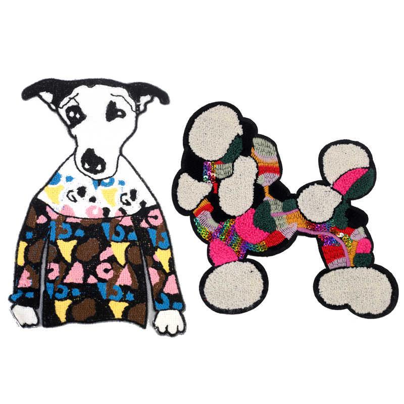 브랜드 큰 개 패치 의류에 스티커에 바느질 스티커 배지 의류에 대 한 바느질 applique 스웨터 자 켓 코트 의류 jod