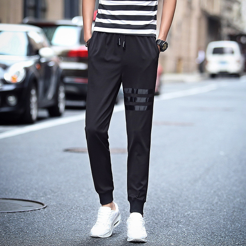 Casual Pants Elasticity Black And White With Pattern Teenager Trousers Skinny Slim Fit Elastic Sweatpants Men's Spring, Autumn A