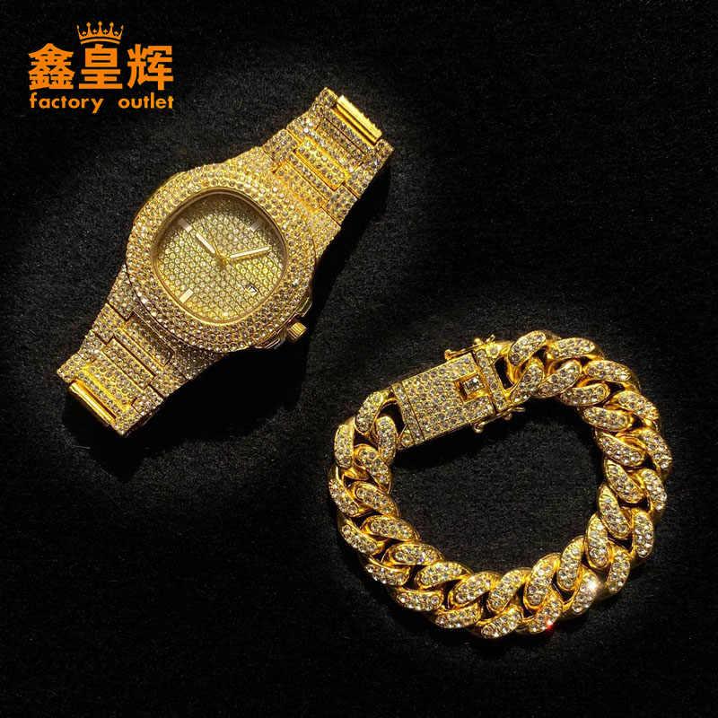 Armband + Horloge Cuba Ketting Mannen En Vrouwen Goud En Zilver Punk Armband Crystal Miami Cuba Ketting