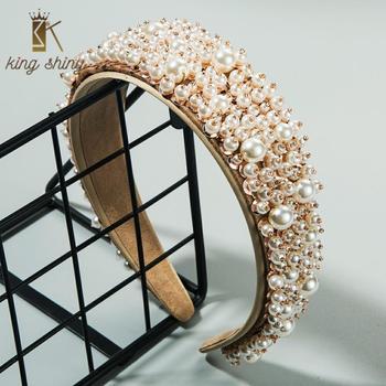 Baroque Women Hair Accessories Pearls Beads Headbands High Quality Full Pearl Padded Hair Hoop  Bridal Tiara Wedding Headbands