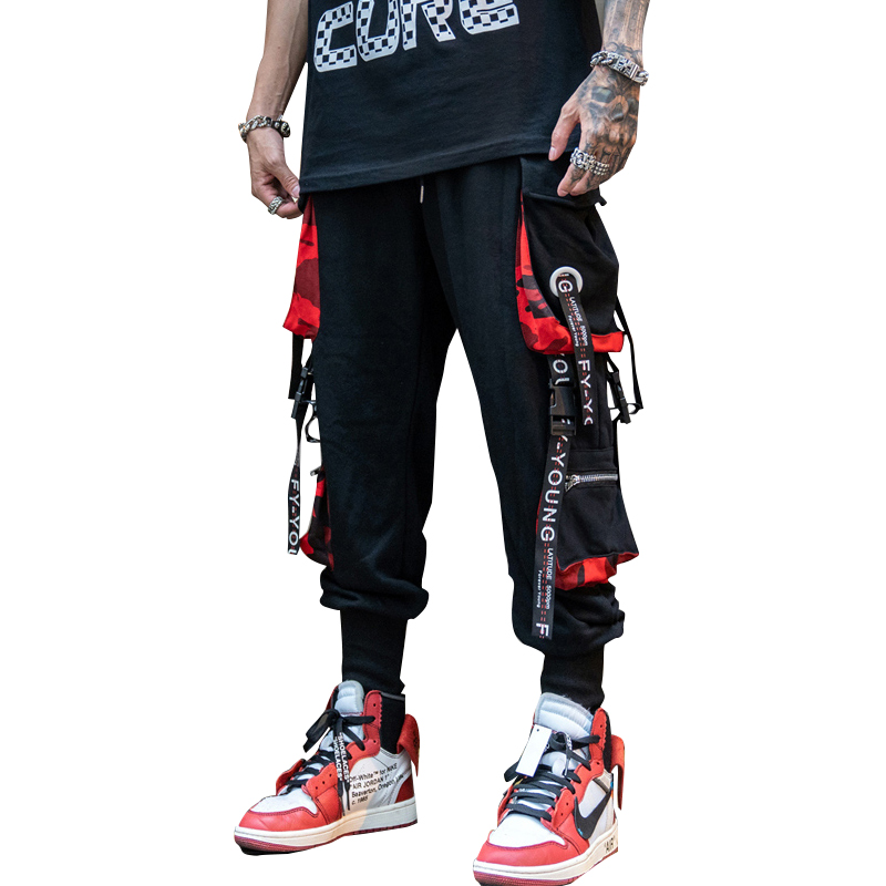 Men Street Style Dance Pants Newest Ribbon Harlan Beam Pants Hip Hop Streetwear Men Casual Sweatpants Brand Joggers Nine Pants