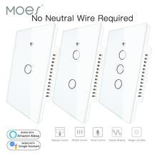 Умный настенный сенсорный выключатель RF433 с Wi Fi, не нужен нейтральный провод, умный однопроводный настенный выключатель, работает с Alexa Google Home 170 250 В