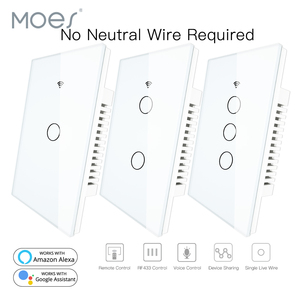 Image 1 - RF433 WiFi Smart Wall Touch Switch No Neutral Wire Needed Smart Single Wire Wall Switch Work with Alexa Google Home 170 250V