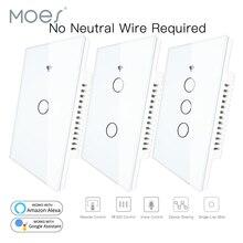RF433 WiFi akıllı duvar dokunmatik anahtarı nötr tel gerekli akıllı tek tel duvar anahtarı Alexa Google ev ile çalışmak 170 250V