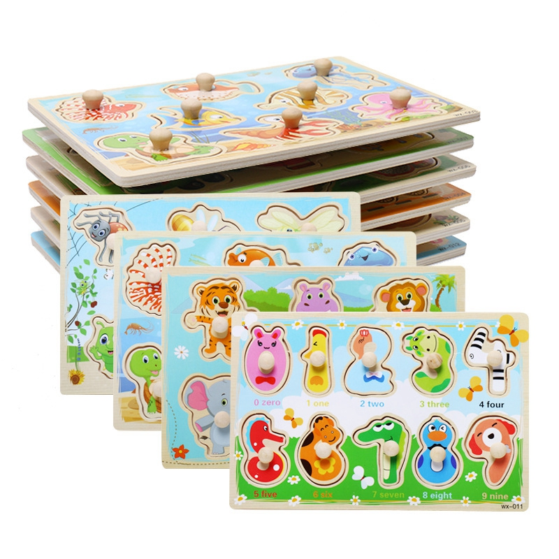 Image 2 - Jigsaw Puzzles Wood Hand Grab Animal Toy For Children Puzzles for kid Cognition Montessori Baby Toy Cartoon Wooden Puzzle  Gifts-in Puzzles from Toys & Hobbies