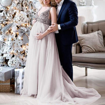Long Gown Maternity Dresses Pregnancy Backless Sling V Neck Sequin Prom Gown Dress Sexy Maternity Evening Maxi Dress Robe#LR2 belva long maternity dress ruffles sleeves evening black dresses ultra soft pregnancy bamboo fiber summer maxi party dress ds112
