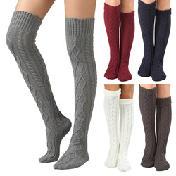 Knee High Socks Women's Cable Knitted Long Boot Stocking Over Knee Socks Winter Warm Leg Warmers Long Socks Чулки Сексуальные
