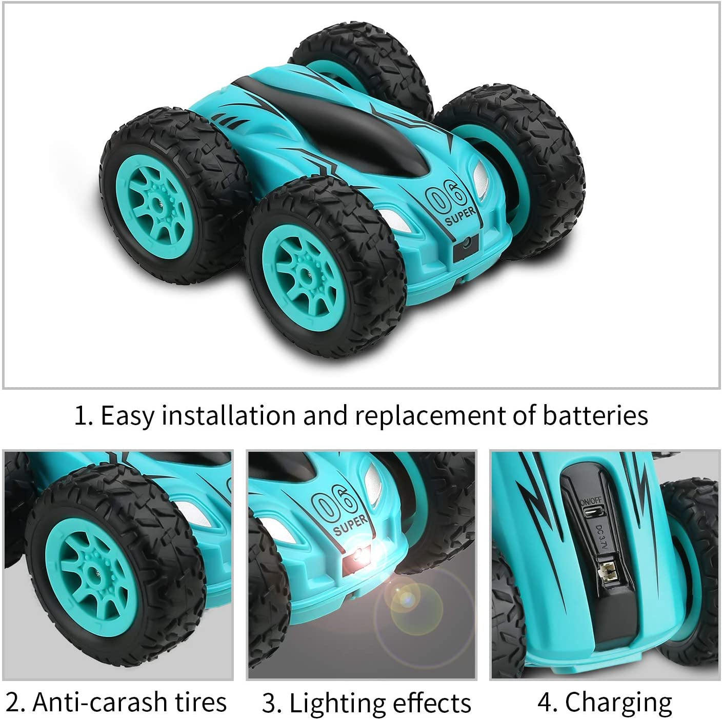 3.7 Inch Rc Auto 2.4G 4CH Dubbelzijdig Bounce Drift Stunt Auto Rock Crawler Roll Auto 360 Graden flip Afstandsbediening Auto Kinderen Speelgoed 3