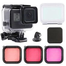 Funda carcasa impermeable submarinismo de 60M + Kit de filtros para lentes de Color para buceo para GoPro Hero 5 6 7, accesorios para go pro de cámara negra