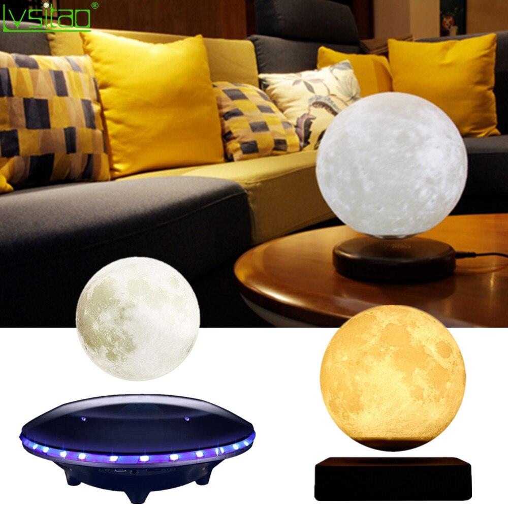 3D Магнитная левитирующая Лунная лампа, Ночной светильник 15 см, Вращающийся беспроводной светодиодный светильник, плавающая лампа, новинка,