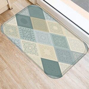 Image 3 - 40 * 60cm Plaid Pattern Mat Non slip Suede Soft Carpet Door Mat Kitchen Living Room Floor Mat Home Bedroom Decorative Floor Mat.