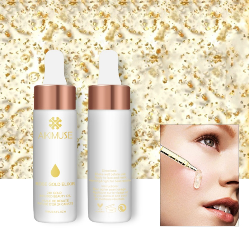 24K Ross Gold Essential Oil Repair Face Fine Lines Whitening Moisturizing Anti Aging Anti Winkle Essence Face Skin Care Tool