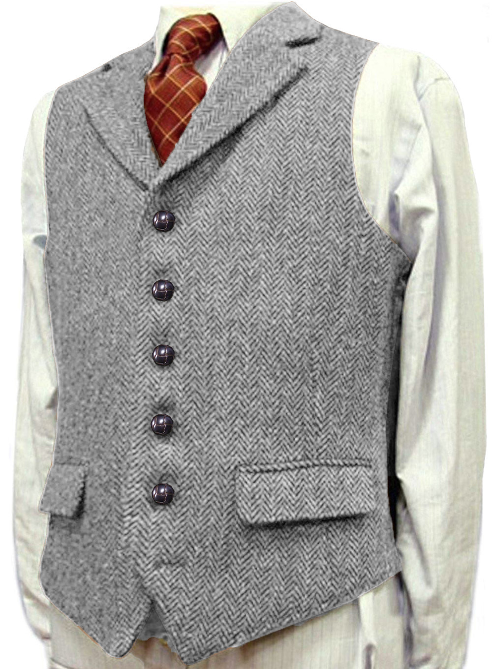 Mens Vest Casual Tweed Wool Slim Fit Notched Lapel Grey/Brown/Black Classic For Wedding Groomsmen Herringbone Men Waistcoat