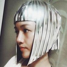 Будущее пространство женский парик Головные уборы солдат Прохладный светоотражающий парик бар GOGO Одежда для танцев зеркальный парик настроить цвета VDB918