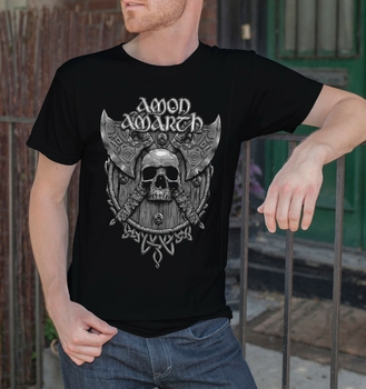 Amon Amarth hombres camiseta negra Death Metal Band camiseta vikingos Metal sueco 5