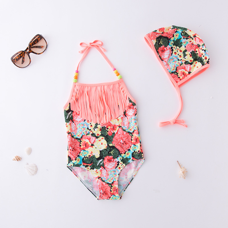 KID'S Swimwear GIRL'S One-piece Swimming Suit Pink Tassels Halter Swimwear Hot Springs Tour Bathing Suit