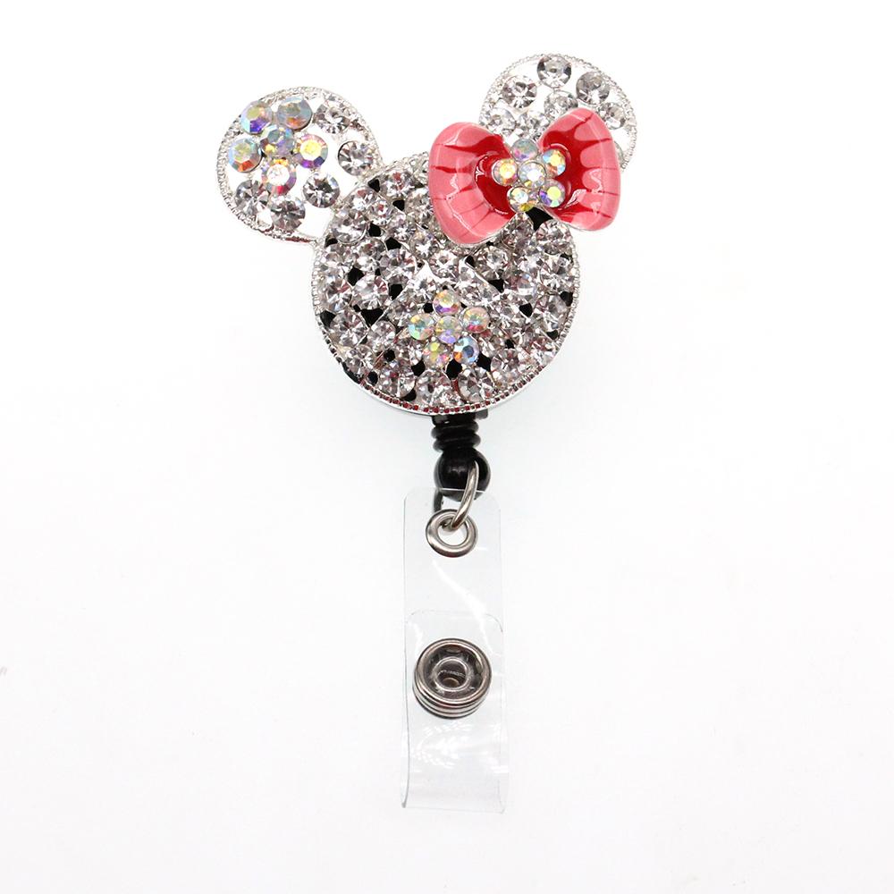Clear Rhinestone Dot Pink Bow Minnie Mouse Head Retractable Black Badge Reel/ID Badge Holder/Pendant/Id Badge Holder