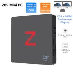 Z85 Мини ПК Atom X5-Z8350 четырехъядерный Windows 10 2,4G + 5,8G Wifi BT4.0 1000 Мбит/с 2 ГБ/4 ГБ 64 Гб rom VGA + HDMI Двойной экран