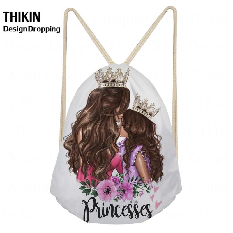 THIKIN Fashion Women Super Mama Print Drawstring Bag Ladies Travelling Princess Girls Storage Bag Casual Backpack Wholesale Bags