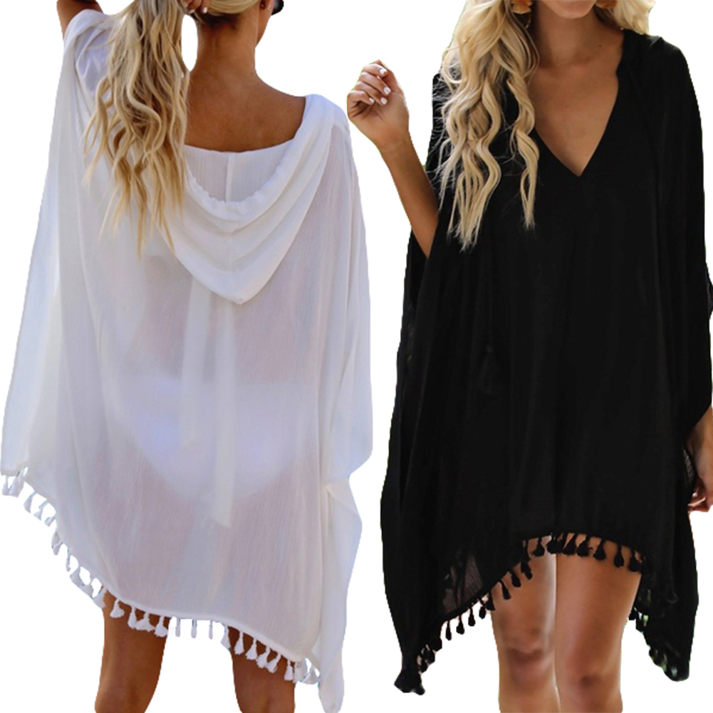 Women Tassel Swimwear Bikini Cover Up Thin Sunscreen Beach Seaside Pool Party Wear Kaftan Loose Dress Plus Size