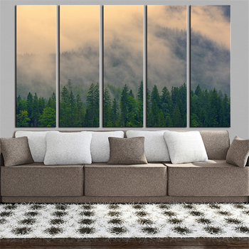 HUGE SIZES 5 piece full Panel fog-4529617 print wall paintings for home decor oil painting art pictures on canvas No Framed