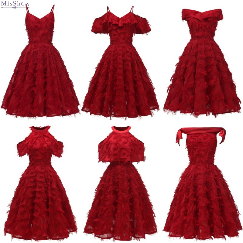 Robe Cocktail robes 2019 une ligne courte robe formelle sans manches gland robe de soirée rouge robes de bal robes de Coctail