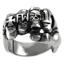 FDLK     Men's Fashion Punk Rock Zinc Alloy Biker Skull Fist FW Ring, Vintage Gothic Cross Ring US Size 7 To 15 Wholesa linsion handmade 925 sterling silver mens biker rock punk blue cz eyes skull ring ta61 us size 7 15