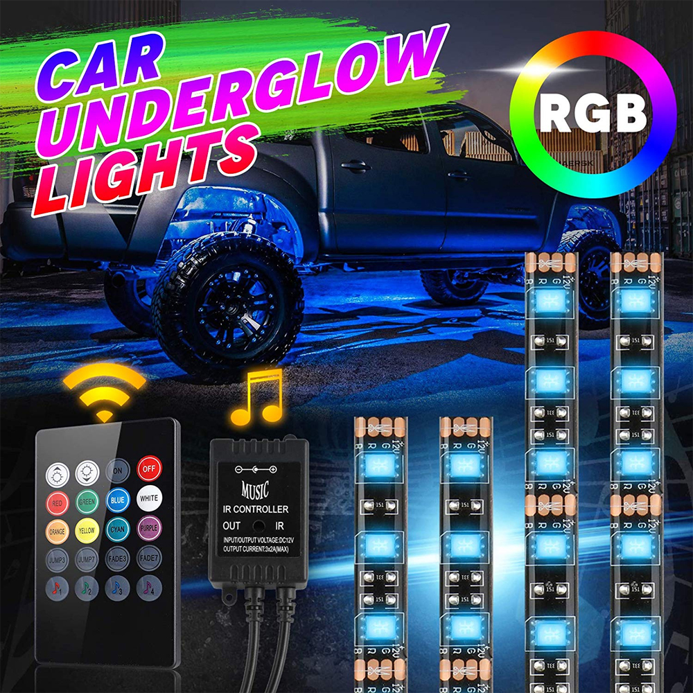 <font><b>4Pcs</b></font> <font><b>RGB</b></font> <font><b>LED</b></font> <font><b>Strip</b></font> Exterior Lighting Kit Color Changing with Remote Control Music Mode DC <font><b>Car</b></font> Neon Underglow <font><b>Lights</b></font> Jestar image