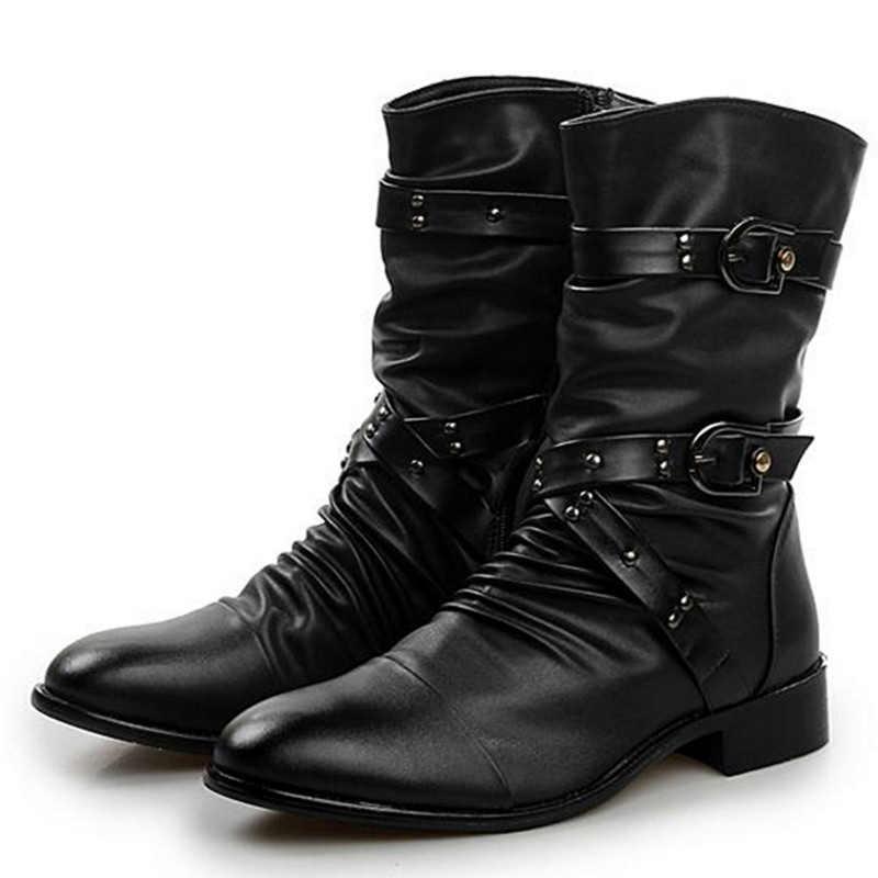 Hoge Kwaliteit Mannen Lederen Laarzen Mannen Basic Locomotief Laarzen Black Punk Rock Schoenen Mannen Maat 38--48