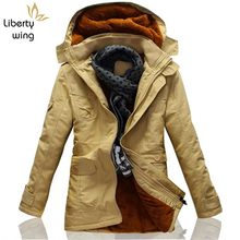 2020 New Khaki Trench Coat For Men Fashion Hooded Windbreaker Fur Lining Warm Winter Mens Overcoat Large Size 5XL Jackets(China)