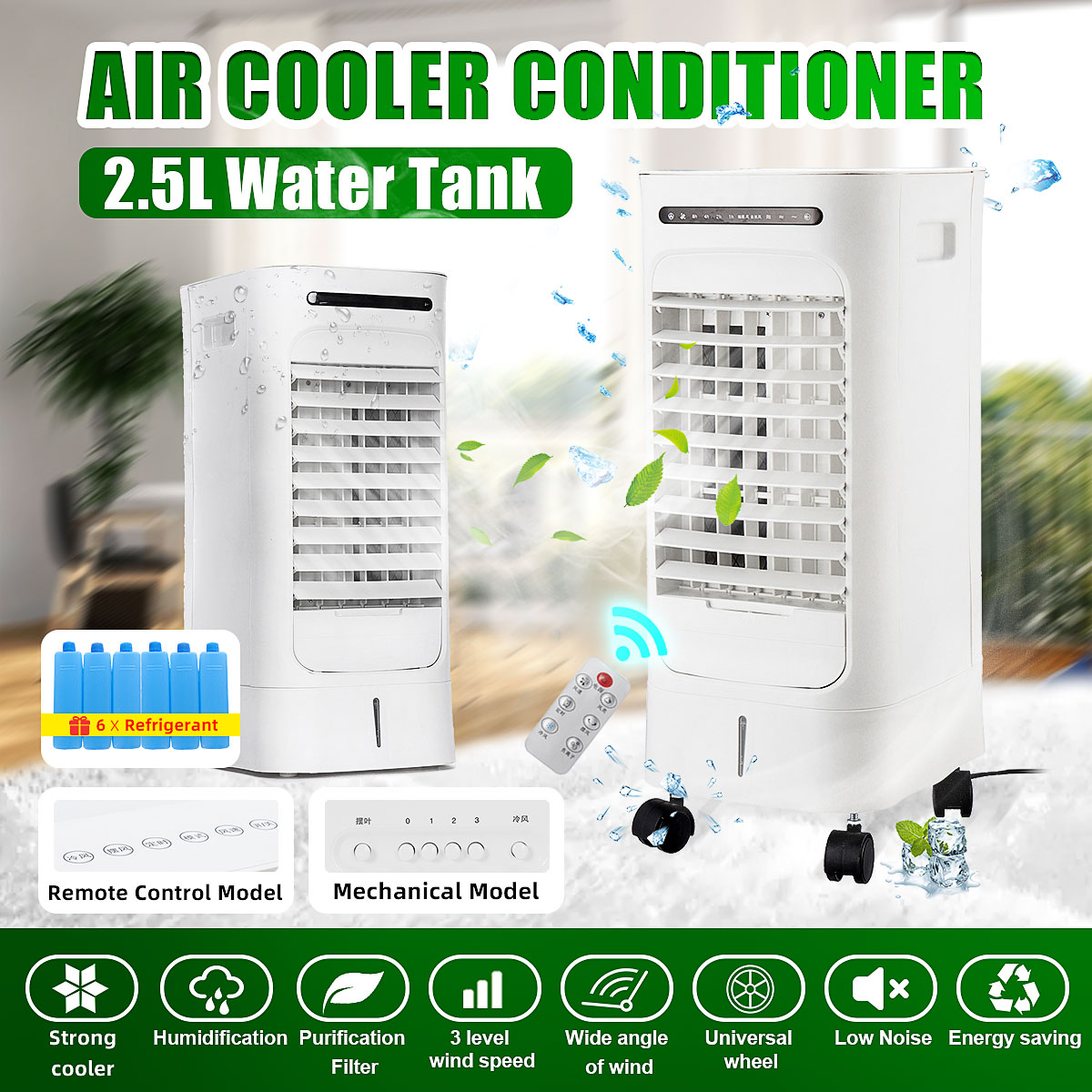 2.5L Capacity Portable Air Conditioner Conditioning 75W 220V Natural Wind Air Cooling Cooler Leafless Fan Household Living Room