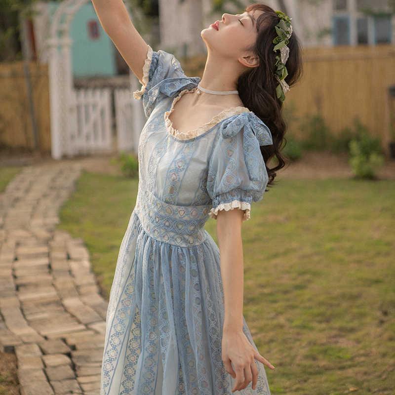 パフスリーブレース女性スラッシュネックアプリコット青エレガントなパーティードレス女性のラウンドネック 2020 夏カジュアル vestido