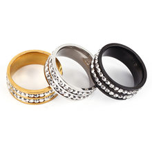 Europe And America Fashion Popular shuang pai zuan Point Full of Crystals Simple Steel Titanium Ring AliExpress(China)