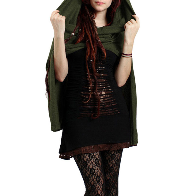 Capes Women Hooded Cloak Gothic Witch Cloaks Sleeveless Button Ponchos Autumn Dark Shawl Short Halloween Cape Coat 2020 5